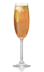 The Bonne Brise is an orange cocktail made from Patron tequila, grenadine, watermelon Pucker, ginger ale, lime juice and champagne, and served in a chilled champagne flute.