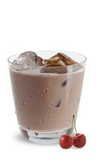 The Boozy Cherry Chocolate Milk is a brown drink made from JDK & Sons Crave chocolate cherry liqueur and milk, and served over ice in a rocks glass.