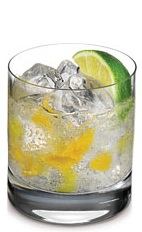 The Brazilian is a tropical-themed drink made from Ketel One Citroen vodka, lime juice, simple syrup, orange and lemon-lime soda, and served over ice in a rocks glass.