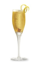 The Brazilian Champagne Cocktail is an orange cocktail made from cognac, Cointreau, champagne, bitters and a sugar cube, and served in a chilled champagne flute.
