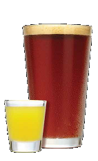 The Bromance drink recipe is a pair of drinks made from Three Olives Dude citrus vodka and lager beer, and served in a set of shot glass and beer glass.
