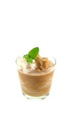 The Brown Cow is a brown cocktail made from Smirnoff  root beer vodka, Godiva chocolate liqueur, vanilla ice cream and whipped cream, and served in a rocks glass.