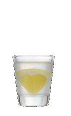 The Bubble Drop shot recipe is made from Three Olives bubble vodka, lemon lime soda, sugar and lemon, and served in a shot glass.