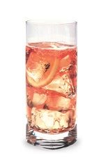 The Bubbly Strawberry-ade is a pink colored drink made from strawberry schnapps, vodka, sour mix and lemon-lime soda, and served over ice in a highball glass.