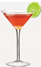 The Burnett's Cosmo cocktail recipe is made from Burnett's vodka, triple sec, cranberry juice and lime, and served in a chilled cocktail glass.
