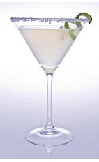 The Cabo Caipirinha cocktail recipe is made from Leblon cachaca, Cointreau orange liqueur, lime juice and simple syrup, and served in a salt-rimmed cocktail glass.