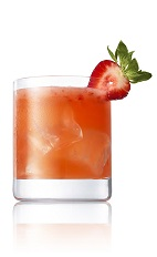 The Cali Daiquiri drink recipe breaks from the traditional blended daiquiri, made from Caliche rum, lime, agave nectar, strawberries and club soda, and served over ice in a rocks glass.