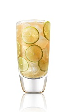 The Cali Ginger Lime drink recipe is made from Caliche rum, Angostura bitters, lime juice, ginger syrup and ginger ale, and served over ice in a highball glass.