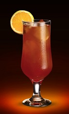 The California Surfer drink recipe is made from Jagermeister, coconut rum and pineapple juice, and served over ice in a tall glass.