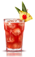 The Campari Fresh is an orange drink made from Campari, pineapple juice and lemon juice, and served over ice in a highball glass.