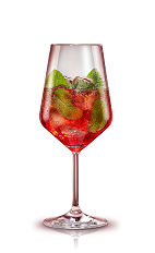 The Campari Mint Spritz is a red cocktail made from Campari, cranberry juice, mint and prosecco or champagne, and served over ice in a wine glass.