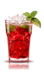 The Campari is an Italian variation of the classic Mojito drink. A red drink made from Campari, lime, mint, brown sugar and club soda, and served over ice in a highball glass.