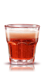 The Campari Seltz is a light aperitif made from Campari and club soda, and served over ice in a rocks glass with a slice of orange.