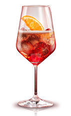The Campari Spritz is made from Campari, club soda and prosecco or champagne, and served over ice in a wine glass.