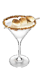 The Campfire Martini recipe is the quintessential s'mores cocktail perfect for Halloween or summer nights by the campfire. Made from Three Olives S'mores vodka, graham crackers, chocolate syrup and marshmallows, and served in a chilled cocktail glass.