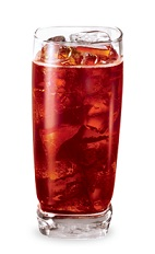 The Canadian Cherry Cola is a red drink made from Pucker cherry schnapps, Canadian whiskey and ginger ale, and served over ice in a highball glass.