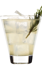 The Cape Hatteras is a uniquely American cocktail made from Wild Turkey, lemon juice, simple syrup, tonic water, rosemary and ginger, and served over ice in a rocks glass.