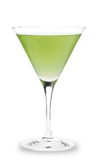 The Caramel Appletini is a green cocktail made from Pucker sour apple schnapps, butterscotch schnapps and vodka, and served in a chilled cocktail glass.