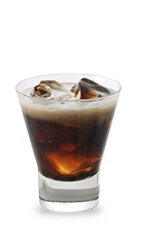 The Caramel Coffee Cream is a brown drink made from butterscotch schnapps, coffee liqueur and milk, and served over ice in a rocks glass.