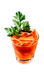The Carrot Cilantro Caipi drink recipe is made from Boca Loca cachaca, cilantro, carrot juice, lime juice, simple syrup and bitters, and served over ice in a rocks glass.