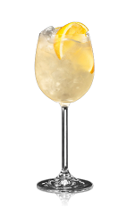 The Century Club Punch is made from Bacardi golden rum, Bacardi Superior rum, lemon juice, sugar and water, and served over ice in a wine glass.