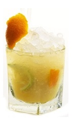 The Cesari Citrus is a fruity drink recipe made from Luxardo Sambuca dei Cesari, orange juice, bitters, lemon juice and lime juice, and served over crushed ice in a rocks glass garnished with an orange peel and lime peel.