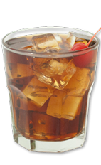 The Chasing Tail is a wild and sexy drink made from Wild Turkey bourbon, amaretto and Cherry Coke, and served over ice in a rocks glass.