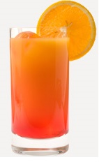 The Cherry Breeze is an orange colored drink recipe made from Burnett's cherry vodka, pineapple juice and cranberry juice, and served over ice in a highball glass.