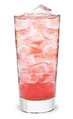 The Cherry Chill is a pink colored drink made from Pucker cherry schnapps, rum and lemon-lime soda, and served over ice in a highball glass.