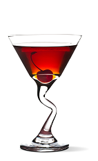 The Cherry Cosmo cocktail recipe is a red colored drink made from UV Cherry vodka, triple sec and cranberry juice, and served in a chilled cocktail glass.