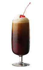 The Cherry Float is a brown colored drink made form Southern Comfort cherry, cola and vanilla ice cream, and served in a parfait glass.
