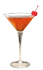 The Cherry Manhattan is an orange colored drink made from Southern Comfort cherry and sweet vermouth, and served in a chilled cocktail glass.