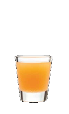 The Cherry Pop shot recipe is an orange colored drink made from Three Olives cherry vodka, triple sec and orange juice, and served in a chilled shot glass.