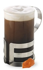 The Chili Hot Chocolate is a brown drink made from Crave Chocolate Chili Liqueur and hot chocolate, and served in a warm coffee mug.