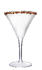The Chocolate Dipped Berry cocktail recipe is a delicious dessert cocktail made from Three Olives berry vodka, chocolate vodka and white crème de cacao, and served in a chocolate-rimmed cocktail glass.