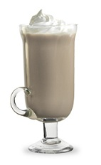 The Chocolate Mint Kiss is a brown colored drink made from peppermint schnapps, hot chocolate and whipped cream, and served in a warm Irish coffee glass.