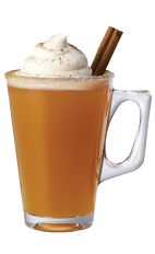 The Cinncider is an orange drink made from Tuaca Cinnaster cinnamon vanilla liqueur, hot apple cider, whipped cream, cinnamon and sugar, and served in a coffee glass.
