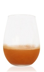 The Cinnfully Pear is an orange cocktail made from Patron tequila, pear juice, lime juice, amaretto liqueur and cinnamon, and served in a chilled rocks glass.