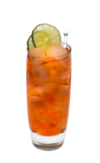 The Citrus Sunset is an orange drink made from Smirnoff citrus vodka, coconut rum, cranberry juice and pineapple juice, and served over ice in a highball glass.