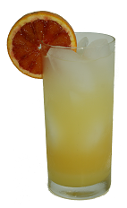 The Clockwork Orange is an orange colored drink made from Ventura Orangecello, vodka and club soda, and served over ice in a highball glass.