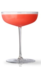 The Clover Club is a classic red cocktail served at cocktail parties around the English-speaking world. This version is made from Martin Miller's gin, lemon juice, simple syrup, egg white and raspberries, and served in a chilled cocktail glass.