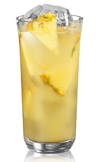 The Coconut and Pineapple is a yellow drink made from coconut rum and pineapple juice, and served over ice in a highball glass.