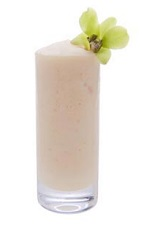 The Coconut Batida is a frozen summer drink recipe made from Leblon cachaca, coconut cream, whole milk and simple syrup, and served blended with ice in a highball glass.