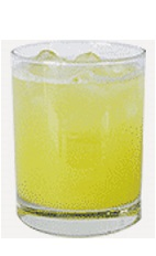 The Coconut Fizz drink recipe is an orange colored cocktail made from Burnett's coconut vodka, sweet & sour mix, orange juice and lemon-lime soda, and served over ice in a rocks glass.