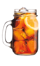 The Comfort Tea is made from Southern Comfort, sweet & sour mix, sweetened tea and cola, and served over ice in a mason jar.