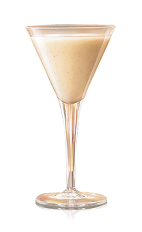 The Coquito is a cream colored cocktail made from Bacardi rum, coconut milk, coconut cream, condensed milk, evaporated milk, sugar, cinnamon and vanilla, and served in a chilled cocktail glass.