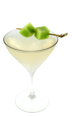 The Cosmic Melon is made from Smirnoff melon vodka, Cointreau, white cranberry juice and cantaloupe, and served in a chilled cocktail glass.