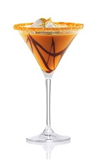 The Cottontail is an orange cocktail made from Patron tequila, carrot juice, half & half, chocolate syrup and whipped cream, and served in a sugar-rimmed cocktail glass.