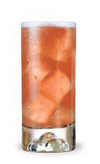 The Cowgirl Coolade is an orange colored drink made from Cointreau orange liqueur, bourbon, sour mix and cranberry juice, and served over ice in a highball glass.