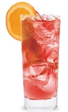 The Cranberry Colada is a red drink made from coconut schnapps and cranberry juice, and served over ice in a highball glass.